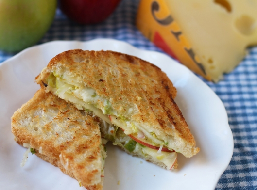 grilled cheese, apple grilled cheese, brussel sprouts
