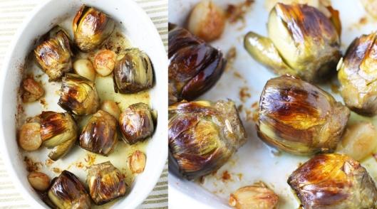 roasted artichokes, roasted vegetables