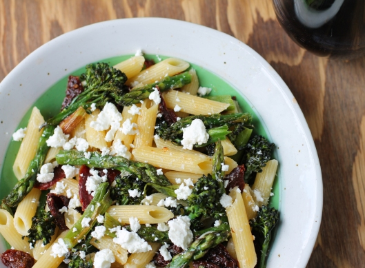 Penne with Roasted Asparagus, Broccolini, and Goat Cheese