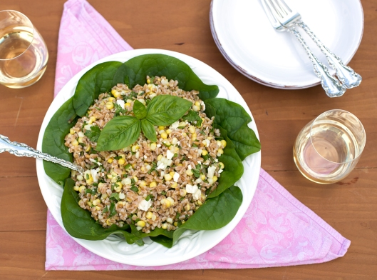 farro, farro salad, farro with corn, summer salads, side dish