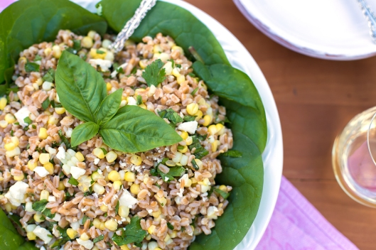 Farro, farro salad, farro with corn, summer salad, side dish